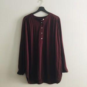 LOFT | Cranberry Color Tunic Blouse